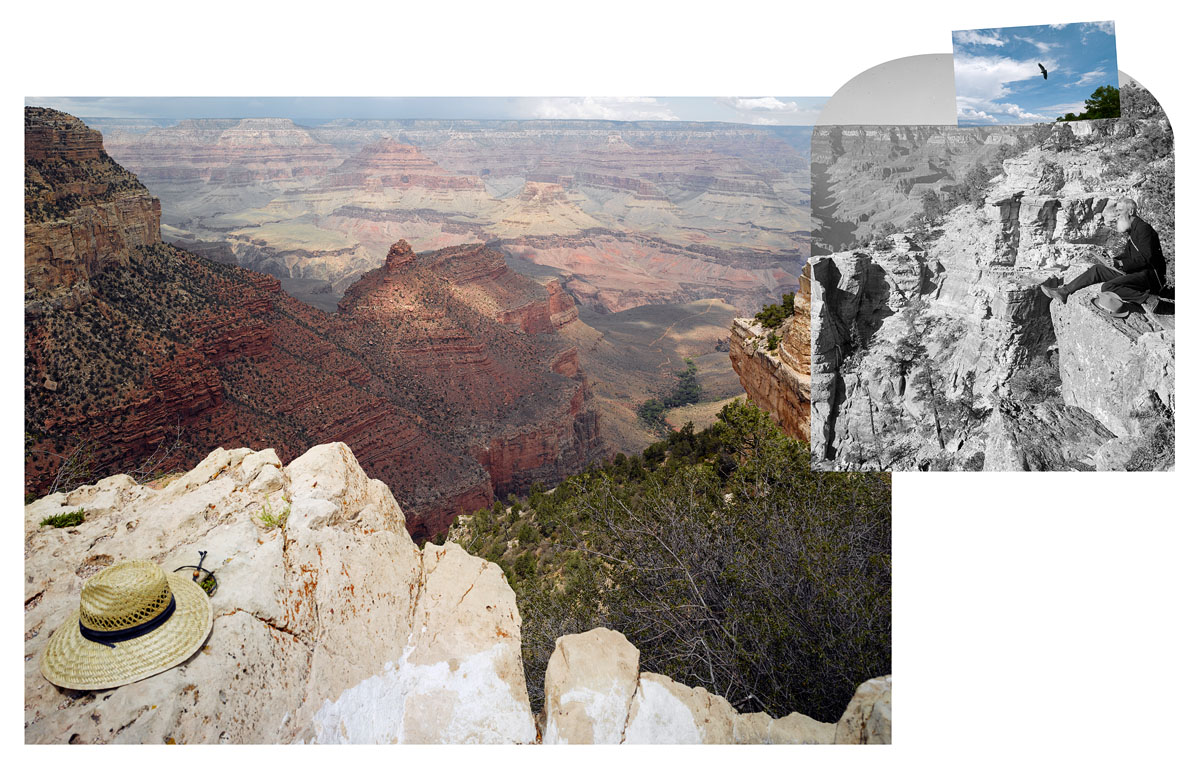 Mark Klett and Byron Wolfe, 2007. View from the south rim of the Grand Canyon with Thomas Moran and California Condor number 302 (one of one hundred fifty-five in the wild). Right: Thomas Moran, America's greatest scenic artist sketching at Bright Angel Cove, Arizona. (Half of stereo view) Keystone-Mast Collection, California Museum of Photography, Riverside.